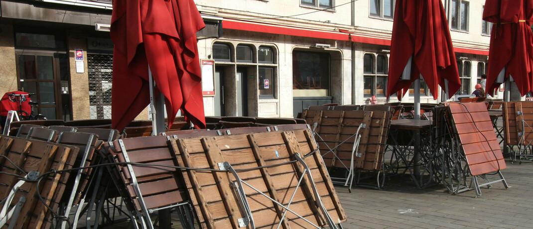 Ein im Zuge des Lockdowns geschlossenes Resaturant in der Altstadt von Köln