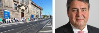 Das Gebäude des Bundesministeriums für Wirtschaft und Energie in Berlin; Wirtschaftsminister Sigmar Gabriel