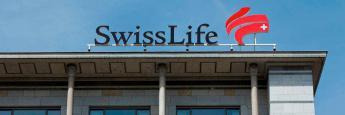 Logo am Konzernhauptsitz von Swiss Life in Zürich