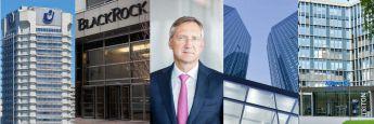 Bert Flossbach (Mitte) und die Firmensitze von Union Investment, Blackrock (Foto: Getty Images), Deutsche Bank und Allianz Global Investors (v.l.)