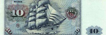Das Segelschulschiff Gorch Fock zierte den alten 10-Mark-Schein.