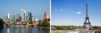 Das Frankfurter Bankenviertel (l., Foto: Bankenverband) und der Pariser Eiffelturm (Foto: Unsplash)