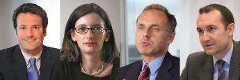 Fondsmanager Stuart Rhodes (M&G Global Dividend), Stephanie Butcher (Invesco Pan European Equity Income), Thomas Schüßler (DWS Top Dividende), Daniel Roberts (Fidelity Global Dividend)