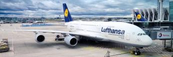 """Airbus A380-800 """"München"""" der Lufthansa AG, die ebenfalls von hohoen Pensionsverpflichtungen belastet ist."""