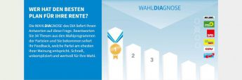 Startansicht des Wahl-O-Mat vom Deutschen Institut für Altersvorsorge
