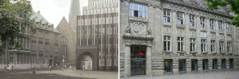 BLB-Gebäude am Domshof in Bremen (l.) und am Markt in Oldenburg: Die Bremer Landesbank und Nord/LB haben sich am 1. September zusammengeschlossen.