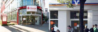 Filialen einer Sparkasse und einer Volksbank: Die Verbraucherzentrale Baden-Württemberg hat jetzt genau erklärt, wieso sie gegen die Volksbank Reutlingen und die Kreissparkasse Tübingen vor Gericht.