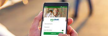 """Paydirekt-App auf einem Smartphone: Die Frankfurter Betreiber des Online-Dienstes setzen nach eigenen Angaben unter anderem auf eine neue Zahlfunktion, mit der """"mobiles Bezahlen so praktisch und bequem wird, wie das Smartphone""""."""
