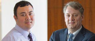Portfoliomanager Alfred T. Murata (l.) und Daniel J. Ivascyn, Investmentchef der Pimco-Gruppe: Aktuell sind die für Euro-Investoren währungsgesicherten Anteilsklassen eines von ihnen verwalteten Rentenfonds besonders gefragt.