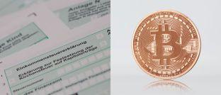 Einkommensteuererklärung und Bitcoin-Münze: Wie Kryptowährungen bei der Steuer anzugeben sind, erklärt Andreas Patzner, Partner beim Wirtschaftsprüfungs- und Beratungsunternehmen KPMG.