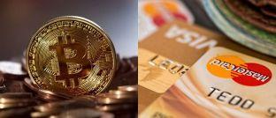 Bitcoin-Münze und Kreditkarte: Den Erwerb von virtuellen Währungen per Kreditkarte verhindern jetzt die US-Großbanken JP Morgan Chase und Citigroup sowie die britische Bank Lloyds, um Kunden vor hohen Schulden bei einem weiteren Wertverlust ihrer auf Kredit getätigten Crypto-Investments zu bewahren.