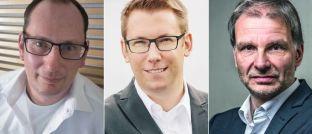 """Wetteifern um das beste Sparplan-Depot (v.l.n.r.): Sven Stoll, Betreiber des Facebook-Portals """"World of Investmentfonds"""", Versicherungsmakler Henning Schmidt und DAS-INVESTMENT-Kolumnist Egon Wachtendorf."""