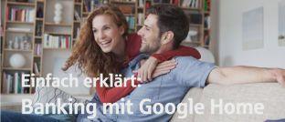 Screenshot aus einem Sparkassen-Erklärfilm zum Thema: Die Sparkasse Stade-Altes Land hat ein Pilotprojekt zum Einsatz des Google-Sprachssistenten für die Kontoabfrage gestartet.