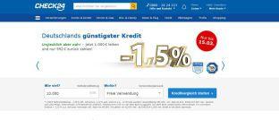 Screenshot der Startseite von Check24. Die Vergleichs- und Vermittlerplattform bietet einen Verbraucherkredit zu Negativzinsen an.