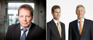 Ausgezeichnet als beste Fondsgesellschaften: Henning Mortensen (linkes Bild), Chef von Jyske Capital, der Investmenttochter der Jyske Bank, und die Vorstandsmitglieder von DJE Kapital, Jens Ehrhardt (re., Vorsitzender) und Jan Ehrhardt (stellvertretender Vorsitzender)