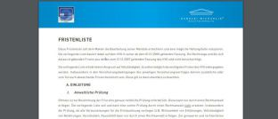 Screenshot des Pdf. Die auf Vermittlerrecht spezialisierte Rechtsanwaltskanzlei Michaelis hat eine Liste für Versicherungsvermittler entworfen, mit deren Hilfe sich gesetzliche Fristen ablesen und dokumentieren lassen.