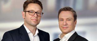Stefan Baumbach (l.) ist Geschäftsführer und Gesellschafter von Resolute Investments. Marco Willner ist Geschäftsführer und Mitbegründer des Frankfurter Fondsberaters.