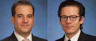 Michael Schmitz (l.) und Alexandre Traub leiten als Doppelspitze das Wertpapierhandelsgeschäft von Goldman Sachs für Deutschland und Österreich.