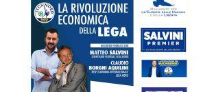 """Die Partei Lega Nord wirbt für ihr Programm """"Basta Euro!"""" (deutsch: Es reicht, Euro!): Darauf zu sehen sind Parteichef Matteo Salvini (li.) und der wirtschaftspolitische Sprecher Claudio Borghi"""
