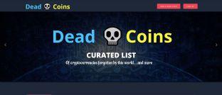 Startseite der Krypto-Leichenzähler-Seite Deadcoins.com