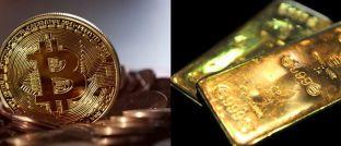 """Bitcoin-Münze und Goldbarren: """"Ist der Bitcoin das Gold der Zukunft?"""", fragt in einer aktuellen Analyse Frank Schwab, Chef beim Berliner Fintech Hufsy.com, Mitgründer des Frankfurter Fintech -Forums und Investor in mehrere europäische Fintechs & Kryptowährungen. Zuvor leitete der ehemalige McKinsey-Berater unter anderem den Betreiber des Sparkassen-Angebots Paydirekt."""