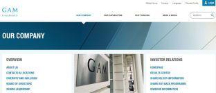 Screenshot der Homepage von GAM. Der Schweizer Asset Manager will 18 Investmentmanager entlassen.