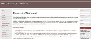 Internetseite der Wettbewerbszentrale, Screenshot. Die Wettbewerbszentrale geht im Auftrag der Bundesregierung wettbewerbsrechtlichen Verstößen auf den Grund.