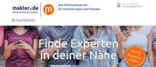 """Screenshot der Startseite von makler.de: Das neue App-Angebot soll alle Informationen """"schnell, spontan, ortsunabhängig"""" bereitstellen. Zum kostenlosen Download müssen Nutzer bei Google Play oder im App Store den Suchbegriff """"makler.de Maklerforum"""" eingeben."""