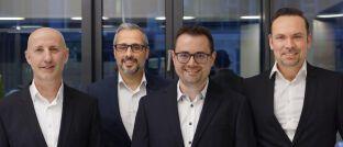 Sven Schmeier (v.l.), Elio Ballerini, Valentin Häusser und Wealthgate-Geschäftsführer Christian Sammet.