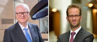 Thomas Schäfer und Klaus Müller (v.l.): Der CDU-Minister und der Verbandschef fordern, dass die öffentliche Hand ein Standardprodukt zur Anlage am Kapitalmarkt organisiert. Automatisch einzahlen sollen in die neue Rentenkasse demnach künftig alle Beschäftigten, die nicht explizit widersprechen.