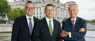 Vorstandsmitglieder des Bundesverband Finanzdienstleistung Frank Rottenbacher, Norman Wirth und Matthias Wiegel (v. li.).