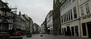 Wegen Corona-Schutzmaßnahmen geschlossene Geschäfte in Kopenhagen, Dänemark: Danske Bank erwartet, dass sich die globale Wirtschaft im zweiten Halbjahr 2020 wieder erholt.