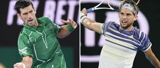 Novak Djokovic (l.) und Dominic Thiem: Eine Neuauflage des serbisch-österreichischen Finalsspiels der Australian Open 2020 könnte im Januar 2021 auch aufgrund fehlenden Versicherungsschutzes der Turnierveranstalter ausfallen.
