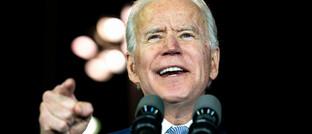 US-Präsidentschaftskandidat Joe Biden auf einer Wahlkampfrede in Los Angeles.