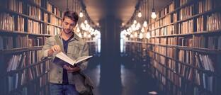 Student in Uni-Bibliothek: Das Humankapital eines 25-jährigen Hochschulabsolventen beträgt rund 2,5 Millionen Euro. Er muss es nur noch nutzen.