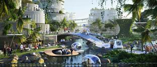 Entwurf der Zukunftsstadt BiodiverCity in Malaysia: Im Mittelpunkt intelligenter Städte stehen die Steigerung der Lebensqualität sowie die Förderung der Nachhaltigkeit.