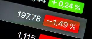 Steigende und fallende Aktienkurse auf dem Smartphone
