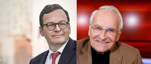 Marcus Vitt (links, Donner & Reuschel) und Edmund Stoiber (CSU)