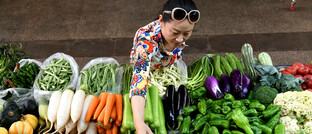 Obsthändlerin in der Stadt Lianyungang