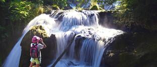 Wasserfall am Fluss Caramy in Frankreich
