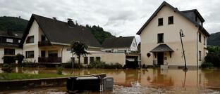 Überflutete Straßen im Landkreis Ahrweiler