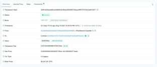 Gutschrift über rund 93 Millionen Dollar in Ether auf der von Poly Network angegebenen Adresse