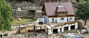 Durch Flut zerstörtes Gebäude in Marienthal bei Bad Neuenahr-Ahrweiler