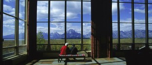 Blick aus der Jackson Lake Lodge im US-Bundesstaat Wyoming