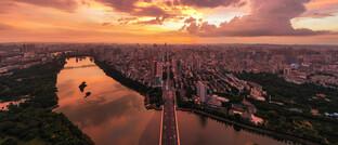 Sonnenuntergang über Nanning, ganz im Süden Chinas unweit der Grenze zu Vietnam