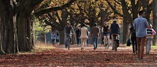 Personen bei einem Herbstspaziergang